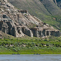 canoes make their way down the wild and senic missouri river in the umrbnm, montana, russel country, montana, usa, upper missouri river breaks national monument, russell