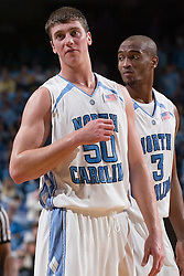 28 December 2006: North Carolina Tarheel forward (50) Tyler Hansbrough and forward (3) Reyshawn Terry during a 87-48 Rutgers Scarlet Knights loss to the North Carolina Tarheels, in the Dean Smith Center in Chapel Hill, NC.<br />