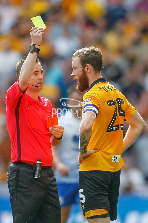 RED CARD Newport County defender Mark O'Brien (25) is sent off for a foul on Tranmere Rovers midfielder James Norwood (10) (not in picture) during the EFL Sky Bet League 2 Play Off Final match between Newport County and Tranmere Rovers at Wembley Stadium, London, England on 25 May 2019.