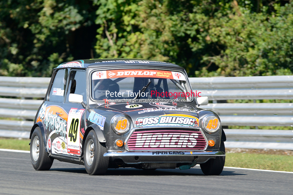 #49 Ross Billison Mini 7 during Mini Se7en - Qualifying as part of the Mini Festival  at Oulton Park, Little Budworth, Cheshire, United Kingdom. August 08 2015. World Copyright Peter Taylor. Copy of publication required for printed pictures.  Every used picture is fee-liable. http://archive.petertaylor-photographic.co.uk