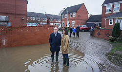 © Licensed to London News Pictures. 9/11/2019. Doncaster, UK. A  Labour leader Jeremy Corbyn and and Labour MP Caroline Flint visit areas  affected by flooding in Dufton Close Conisborough .Within 24 hours , floods have affected many parts of Northern England , with damage corresponding to a month of heavy rainfall.Photo credit: Ioannis Alexopoulos /LNP