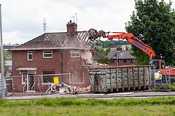 The demolition of council houses on the Wybourn estate, Sheffield. The area will be regenerated