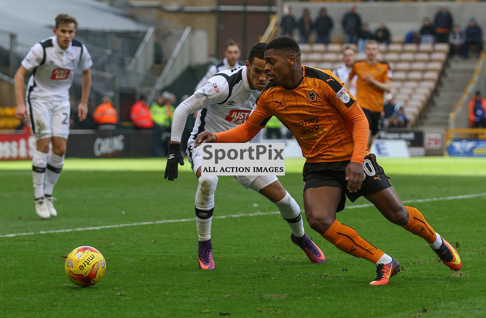 WOLVERHMPTON, UNITED KINGDOM 05 NOVEMBER 2016: Ival Cavaleiro prepares to pass   during the league game between Wolverhampton Wanderers and Derby County in the Football League Championship at Molineux Stadium, on November 05, 2016 in Wolverhampton, England. (Photo by Michael Poole)