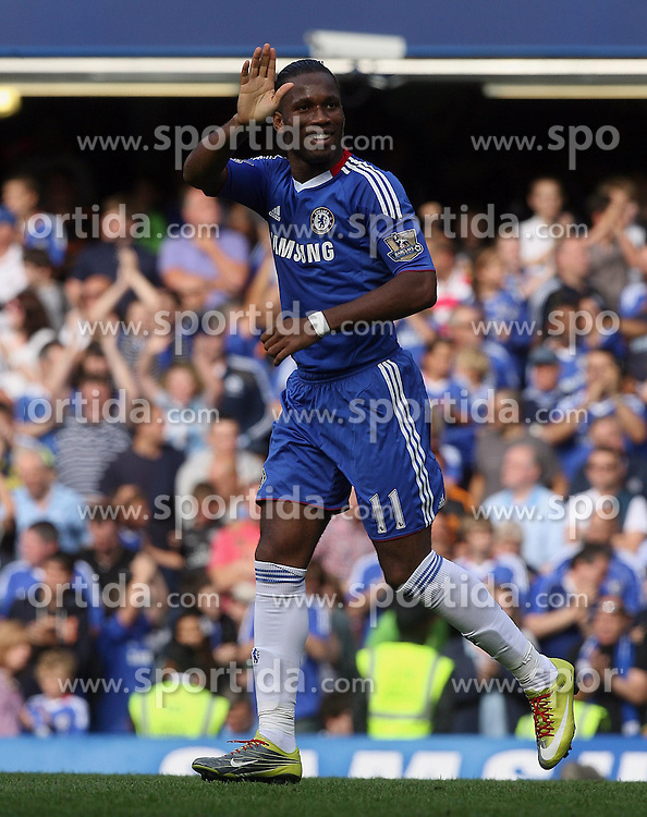 28.08.2010, Stamford Bridge, London, ENG, PL, FC Chelsea vs Stoke City, im Bild Didier Drogba of Chelsea  salutes his goal (2-0). EXPA Pictures © 2010, PhotoCredit: EXPA/ IPS/ Marcello Pozzetti +++++ ATTENTION - OUT OF ENGLAND/UK +++++ / SPORTIDA PHOTO AGENCY
