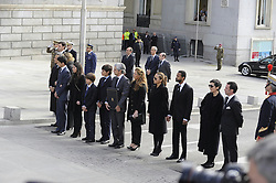 Adolfo Suarez, the prime minister who led Spain to democracy after decades of dictatorship and became its first elected premier after the death of General Francisco Franco, died on March 23, 2014 aged 81. The coffin arrived today to the Parliamentary Building, Madrid, Spain, Sunday, 23rd March 2014. Picture by DyD Fotografos / i-Images<br /> SPAIN OUT