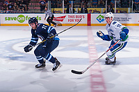 PENTICTON, CANADA - SEPTEMBER 8: Antoine Cnete-belzile #72 of Winnipeg Jets skates over centre with Kole Lind #78 of Vancouver Canucks in pursuit on September 8, 2017 at the South Okanagan Event Centre in Penticton, British Columbia, Canada.  (Photo by Marissa Baecker/Shoot the Breeze)  *** Local Caption ***