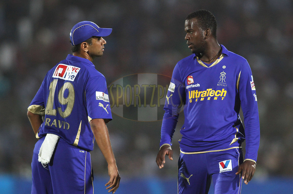 Rajasthan Royals captain Rahul Dravid and Kevon Cooper of the Rajasthan Royals talk tactics during match 30 of the the Indian Premier League (IPL) 2012  between The Rajasthan Royals and the Royal Challengers Bangalore held at the Sawai Mansingh Stadium in Jaipur on the 23rd April 2012..Photo by Shaun Roy/IPL/SPORTZPICS