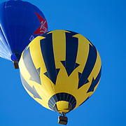 A pair of Balloons ascend in a clear blue sky just after sunrise.