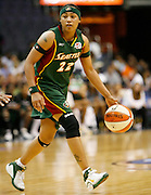 Seattle Storm guard Betty Lenox dribbles during this WNBA game between the Mystics and the Storm at the Verizon Center in Washington, DC. The Storm won 73-71.  July 23, 2006  (Photo by Mark W. Sutton)