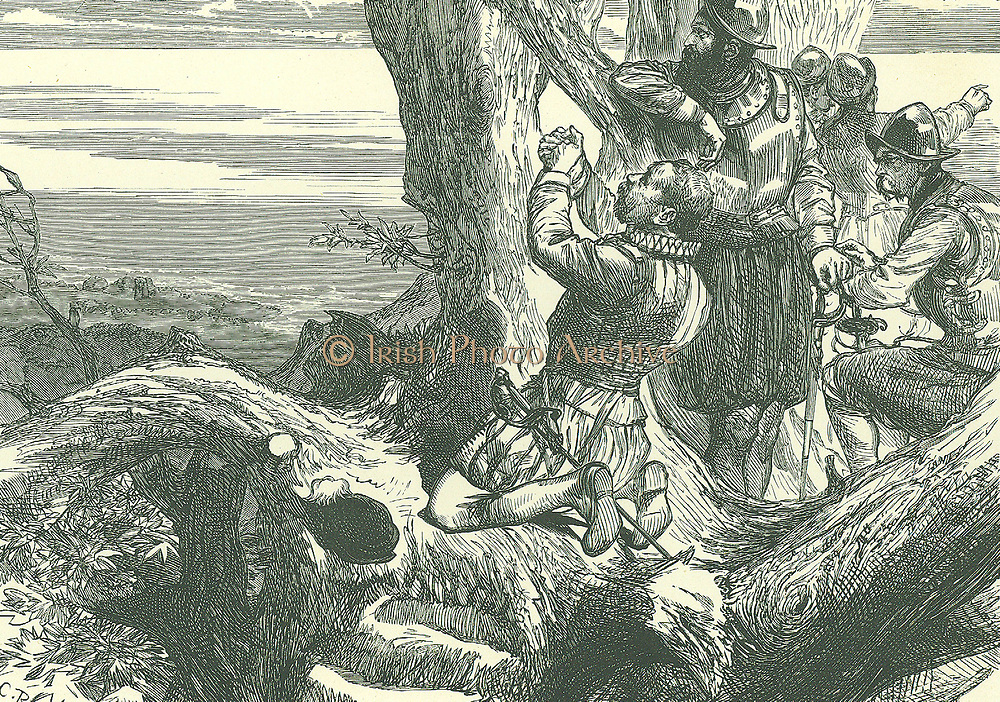 Francis Drake (c1540-1596) English navigator and privateer, on the Isthmus of Panama in 1572 becoming the first Englishman to see the Pacific Ocean.  Late 19th century illustration.