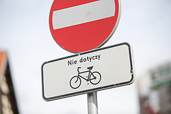 August 19, 2017 - Bydgoszcz, Poland - A traffic sign restricting cyclists is seen in the old center of the city on 19 August, 2017. (Credit Image: © Jaap Arriens/NurPhoto via ZUMA Press)