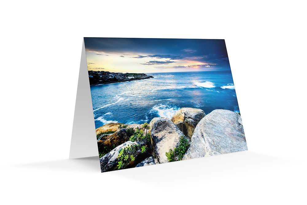 """Photo Art Greeting Card - Sydney Coastal Collection (Gordons Bay). Printed in Sydney on quality matte card stock, 174 x 123mm, blank inside, envelope included, packaged in sealed poly bag. Click """"Add to Cart"""" to choose your own mix of 5, 10, or 20 cards from this collection."""