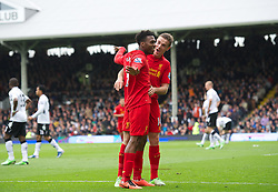12.05.2013, Craven Cottage, London, ENG, Premier League, FC Fulham vs FC Liverpool, 37. Runde, im Bild Liverpool's Daniel Sturridge celebrates scoring the second goal against Fulham with team-mate Jordan Henderson during during the English Premier League 37th round match between Fulham FC and Liverpool FC at the Craven Cottage, London, Great Britain on 2013/05/12. EXPA Pictures © 2013, PhotoCredit: EXPA/ Propagandaphoto/ David Rawcliffe..***** ATTENTION - OUT OF ENG, GBR, UK *****