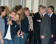 King Philippe and Queen Mathilde receive Olympic athletes at Laeken Castle