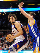 Feb. 10, 2011; Phoenix, AZ, USA; Phoenix Suns center Robin Lopez (15) is guarded by Golden State Warriors forward David Lee (10) at the US Airways Center.  The Suns defeated the Warriors 112 - 88.  Mandatory Credit: Jennifer Stewart-US PRESSWIRE