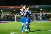 Stephen Dooley of Rochdale AFC celebrates his goal to make the score 1-0 to Rochdale during the EFL Sky Bet League 1 match between Rochdale and Lincoln City at the Crown Oil Arena, Rochdale, England on 17 September 2019.