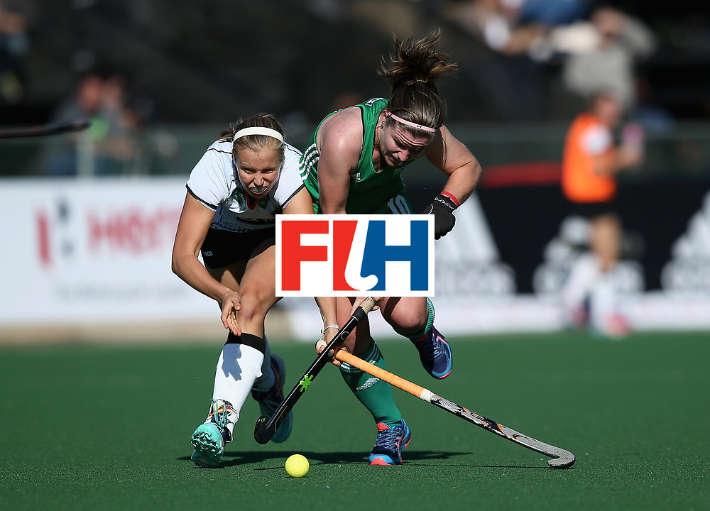 JOHANNESBURG, SOUTH AFRICA - JULY 10: Cecile Pieper of Germany and Shirley McCay of Ireland battle for possession  during day 2 of the FIH Hockey World League Semi Finals Pool A match between Germany and Ireland at Wits University on July 10, 2017 in Johannesburg, South Africa. (Photo by Jan Kruger/Getty Images for FIH)