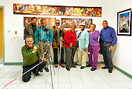 "Artist Reception for Seeing with Photography Collective SWPC, a group of visually impaired, sighted and totally blind photographers based in NYC, on Saturday, April 28, 2012, at African American Museum, Hempstead, New York, USA. Group photo of photographers included are (standing) starting one person in from left:  John Gardner, Dale Layne, Tameka Cooper, Victorine Floyd Fludd, Marion Sheppard, and Hasheem Kirkland. Exhibit hosted by Long Island Center of Photography. Aperture published the group's ""Shooting Blind: Photographs by the Visually Impaired"" in 2005."