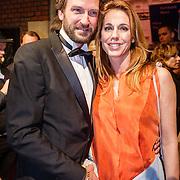 NLD/Amsterdam/20160311 - Inloop Boekenbal 2016, Marion Pauw en partner Chris Meijer