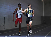 Feb 25, 2017; Seattle, WA, USA; Marcus Chambers of Oregon defeats Miles Parish of Arizona to win the 400m, 46.40 to 46.66, during the MPSF Indoor Championships at the Dempsey Indoor.