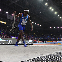 Will Claye wins gold in the men's long jump at the IAAF World Indoor Championships, March 4, 2018
