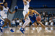 San Jose State Spartans guard Zach Chappell (4) drives past UCLA Bruins forward Alex Olesinski (0) and guard David Singleton (34) during an NCAA college basketball game, Sunday, Dec. 1, 2019, in Los Angeles. UCLA defeated San Jose State 93-64. (Jon Endow/Image of Sport)