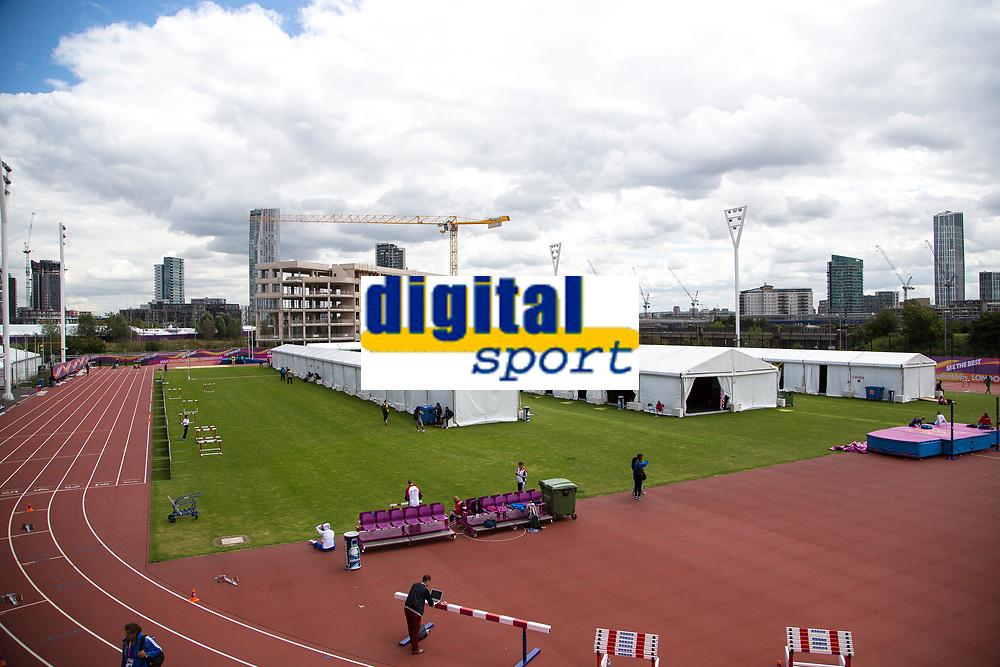 Athletics - 2017 IAAF London World Athletics Championships - Day One<br /> <br /> Athletes preparation area just outside the stadium <br /> <br /> <br /> COLORSPORT/DANIEL BEARHAM