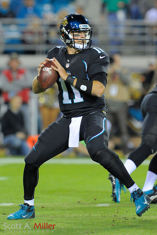 Jacksonville Jaguars quarterback Blaine Gabbert (11) during NFL football game between the Jacksonville Jaguars and the Indianapolis Colts at EverBank Field on November 8, 2012 in Jacksonville, Florida.  The Colts won 27-10. .©2012 Scott A. Miller..