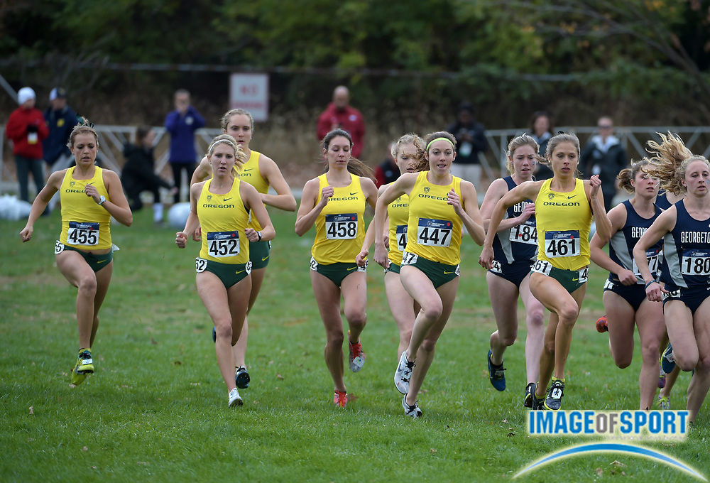 Nov 21, 2015; Louisville, KY, USA; Oregon runners at the start of the womens race during the 2015 NCAA cross country championships at Tom Sawyer Park. From left: Annie Leblanc (455), Molly Grabill (452), Ashley Maton (458), Alli Cash (447) and Waverly Neer (461).