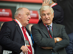 CARDIFF, WALES - Tuesday, August 21, 2014: England FA's Trevor Brooking and FAW President Trefor Lloyd-Hughes before the FIFA Women's World Cup Canada 2015 Qualifying Group 6 match against Wales at the Cardiff City Stadium. (Pic by Ian Cook/Propaganda)