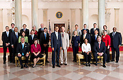 26.JULY.2012. WASHINGTON D.C.<br /> <br /> PRESIDENT BARACK OBAMA AND VICE PRESIDENT JOE BIDEN POSE WITH THE FULL CABINET FOR AN OFFICIAL GROUP PHOTO IN THE GRAND FOYER OF THE WHITE HOUSE, JULY 26, 2012. <br /> <br /> SEATED, FROM LEFT, ARE: TRANSPORTATION SECRETARY RAY LAHOOD, ACTING COMMERCE SECRETARY REBECCA BLANK, U.S. PERMANENT REPRESENTATIVE TO THE UNITED NATIONS SUSAN RICE, AND AGRICULTURE SECRETARY TOM VILSACK. <br /> <br /> STANDING IN THE SECOND ROW, FROM LEFT, ARE: EDUCATION SECRETARY ARNE DUNCAN, ATTORNEY GENERAL ERIC H. HOLDER, JR., LABOR SECRETARY HILDA L. SOLIS, TREASURY SECRETARY TIMOTHY F. GEITHNER, CHIEF OF STAFF JACK LEW, SECRETARY OF STATE HILLARY RODHAM CLINTON, DEFENSE SECRETARY LEON PANETTA, VETERANS AFFAIRS SECRETARY ERIC K. SHINSEKI, HOMELAND SECURITY SECRETARY JANET NAPOLITANO, AND U.S. TRADE REPRESENTATIVE RON KIRK.<br /> <br /> STANDING IN THE THIRD ROW, FROM LEFT, ARE: HOUSING AND URBAN DEVELOPMENT SECRETARY SHAUN DONOVAN, ENERGY SECRETARY STEVEN CHU, HEALTH AND HUMAN SERVICES SECRETARY KATHLEEN SEBELIUS, INTERIOR SECRETARY KEN SALAZAR, ENVIRONMENTAL PROTECTION AGENCY ADMINISTRATOR LISA P. JACKSON, OFFICE OF MANAGEMENT AND BUDGET ACTING DIRECTOR JEFFREY D. ZIENTS, COUNCIL OF ECONOMIC ADVISERS CHAIR ALAN KRUEGER, AND SMALL BUSINESS ADMINISTRATOR KAREN G. MILLS. <br /> <br /> BYLINE: EDBIMAGEARCHIVE.CO.UK<br /> <br /> *THIS IMAGE IS STRICTLY FOR UK NEWSPAPERS AND MAGAZINES ONLY*<br /> *FOR WORLD WIDE SALES AND WEB USE PLEASE CONTACT EDBIMAGEARCHIVE - 0208 954 5968*