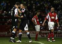 Photo: Paul Thomas.<br /> Rotherham United v Swansea City. Coca Cola League 2. 27/02/2007.<br /> <br /> Goal scorer Pawel Abbott (L) of Swansea celebrates with Lee Trundle.