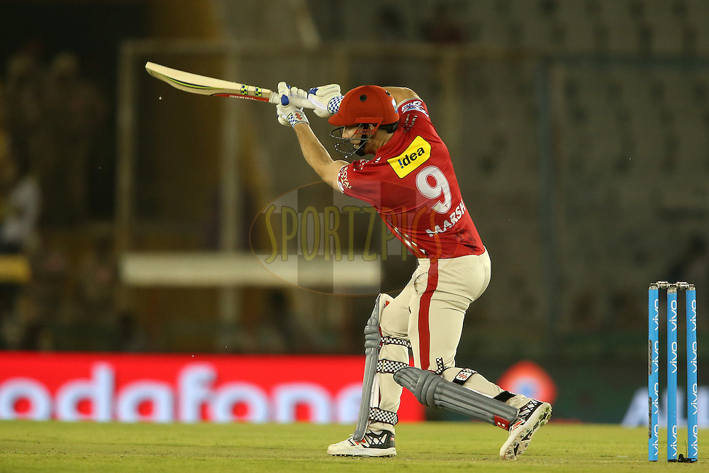 Shaun Marsh of Kings XI Punja drives a delivery to the boundary during match 13 of the Vivo Indian Premier League (IPL) 2016 between the Kings XI Punjab and the Kolkata Knight Riders held at the IS Bindra Stadium, Mohali, India on the 19th April 2016<br /> <br /> Photo by Shaun Roy / IPL/ SPORTZPICS