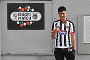 Disabled Grimsby Town fan arrive early next to EFL sign before the EFL Sky Bet League 2 match between Grimsby Town FC and Oldham Athletic at Blundell Park, Grimsby, United Kingdom on 15 September 2018.