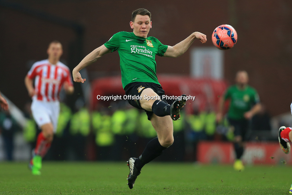 4th January 2015 - FA Cup - 3rd Round - Stoke City v Wrexham - Connor Jennings of Wrexham shoots - Photo: Simon Stacpoole / Offside.
