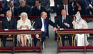 ROME From 2L Belgium's Queen Paola, Belgium's King Albert II, Spain's King Juan Carlos and Spain's Queen Sofia smile before the canonisation mass of Popes John XXIII and John Paul II on St Peter's at the Vatican on April 27, 2014. Catholics from around the world gathered in Rome on Sunday for a mass presided by Pope Francis to confer sainthood on John Paul II and John XXIII -- two influential popes who helped shape 20th century history. COPYRIGHT ROBIN UTRECHT