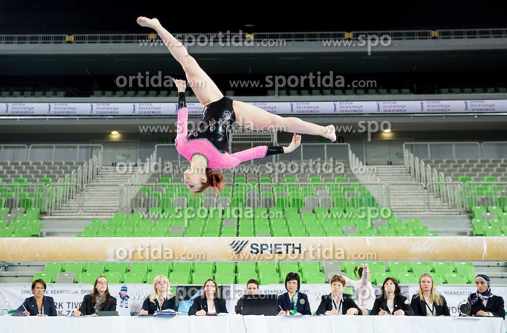Tjasa Kysselef of Slovenia competes in the Balance Beam during Qualifications of Artistic Gymnastics World Challenge Cup Ljubljana, on April 3, 2015 in Arena Stozice, Ljubljana, Slovenia. Photo by Vid Ponikvar / Sportida