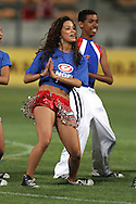 CAPE TOWN, SOUTH AFRICA - 11 FEBRUARY 2011, Engen Cheerleaders perform at half time during the Absa Premiership match between Santos and Ajax Cape Town held at Athlone Stadium in Cape Town, South Africa..Photo by: Shaun Roy/Sportzpics
