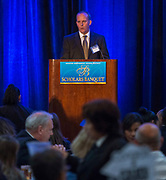 Larry Seidl comments during the Scholars Banquet at the Westin Galleria, April 11, 2017.