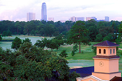 Stock photo of the Galleria skyline from Memorial Park golf course in Houston, Texas