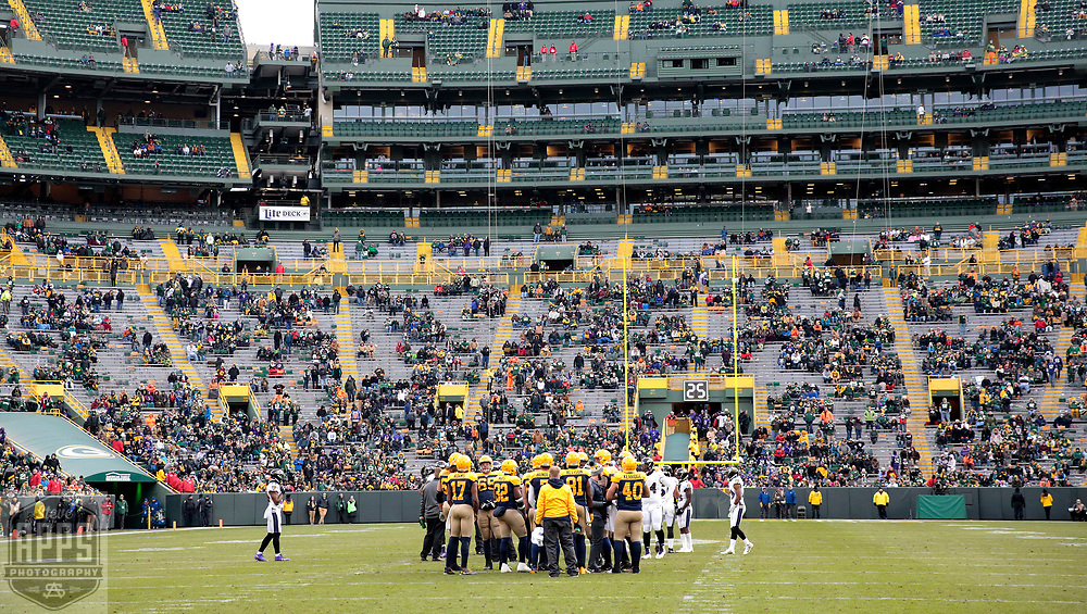 A lot of Packers fans left the game before the 2-minute warning in the 4th quarter. <br /> The Green Bay Packers hosted the Baltimore Ravens at Lambeau Field Sunday, Nov. 19, 2017. The Packers lost 23-0. STEVE APPS FOR THE STATE JOURNAL.