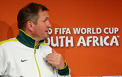 Press conference of Matjaz Kek, head coach of Slovenia National team before football match against USA at  Ellis Park Stadium on June 17, 2010 in Johannesburg, South Africa.  (Photo by Vid Ponikvar / Sportida)
