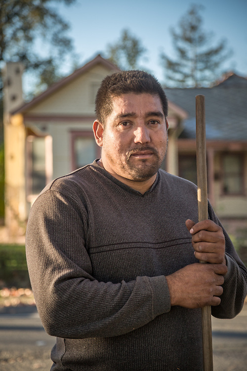 """I was a cooper...I made barrels...before that I worked in the fields and did every job required at a vineyard.  I started my own buisness four years ago.  If you want to hire me, you may have to wait until January.""          -Landscaper Juan Hernandez completes work  on a client's property on Lake Street in Calistoga.  j"