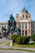 Austria. Vienna. Maria Theresien Platz with statue of Maria Theresa between the Museum of Natural History and Museum of Art
