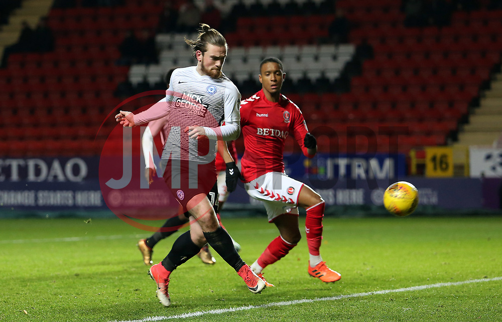 Jack Marriott of Peterborough United scores his sides second goal of the game - Mandatory by-line: Joe Dent/JMP - 28/11/2017 - FOOTBALL - The Valley - Charlton, London, England - Charlton Athletic v Peterborough United - Sky Bet League One