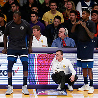 25 December 2017: Minnesota Timberwolves center Gorgui Dieng (5) and Minnesota Timberwolves guard Jamal Crawford (11) wait to enter the game during the Minnesota Timberwolves 121-104 victory over the LA Lakers, at the Staples Center, Los Angeles, California, USA.