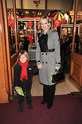 Actress HERMIONE NORRIS and her son WILF WHEELER at the gala opening night of Cirque du Soleil's Varekai at the Royal Albert Hall, London on 5th January 2010.