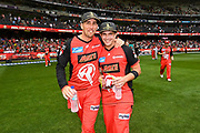 17th February 2019, Marvel Stadium, Melbourne, Australia; Australian Big Bash Cricket League Final, Melbourne Renegades versus Melbourne Stars; Tom Cooper and Cameron Boyce of the Melbourne Renegades celebrates their  BBL 08 win