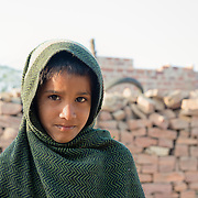 Portrait of Indian boy outside village of Chandelao, Rajasthan