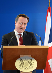 British Prime Minister David Cameron speaks during a press briefing after the two-day European Union summit at EU headquarters in Brussels, capital of Belgium, March 15, 2013.. Photo by Imago / i-Images...UK ONLY.Contact..
